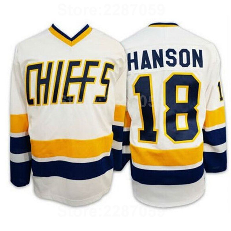 Ediwallen Cheap 18 Jeff Hanson Jersey Charlestown Chiefs Slap Shot Ice Hockey Hanson Movie Jerseys Blue White Top Quality