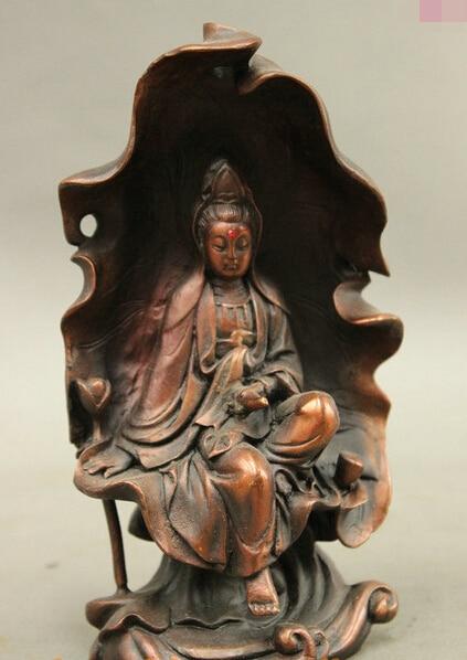 Bi003432 Tibet Chinese Bronze Buddhism Lotus Leaf GuanYin Kwan-Yin Avalokitesvara Statue