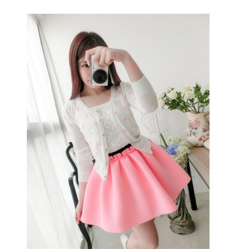 Otoño falda espacio Algodón elástico fuerza alta cintura Falda plisada  faldas mujeres tutú SAIA policromática casual falda be8d8633e9f6
