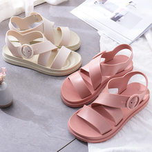 Women Sandals Rubber Solid Casual Buckle Strap Summer Beach Holiday Seaside Slippers for Female Pink White Flat with Low Heel(China)
