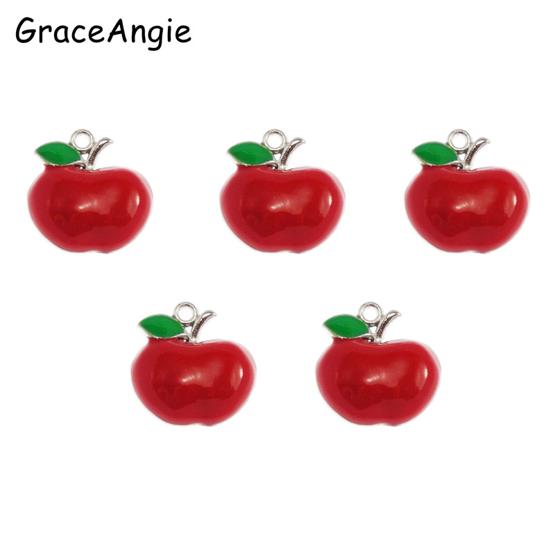 15pcs/lot Free Shipping Red Apple Necklace Pendant Cute Crafts Enamel Alloy Charm Pendant Jewelry Making 17*17*4mm 50499