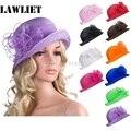 Сплошной Цвет Женщин Лето Органзы Кентукки Дерби Котелок Шляпа Солнца Шляпы Для Женщин Чаепитие A267