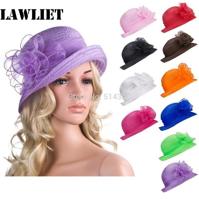 Para Mujer de Color sólido Organza Kentucky Derby Bowler Sombrero para el Sol Sombreros de Verano Para Mujeres Fiesta de Té A267