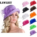 Solid Color Womens Summer Organza Bowler Sun Hat Kentucky Derby Hats For Women Tea Party A267
