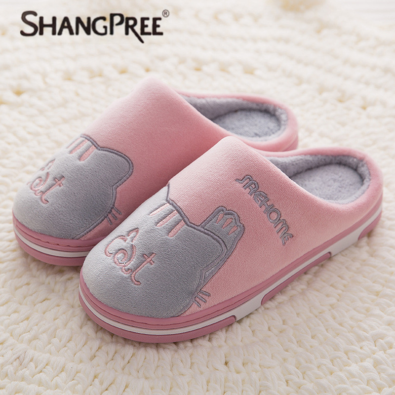 New Women cotton Slippers Winter Flat Sweet Home Slippers Woman Indoor Shoes Warm Soft Slip On Black Pink Grey Female Slipper millffy 2018 new summer sweet ladies shoes pink girl home slippers cotton indoor slip on knot stripe slippers