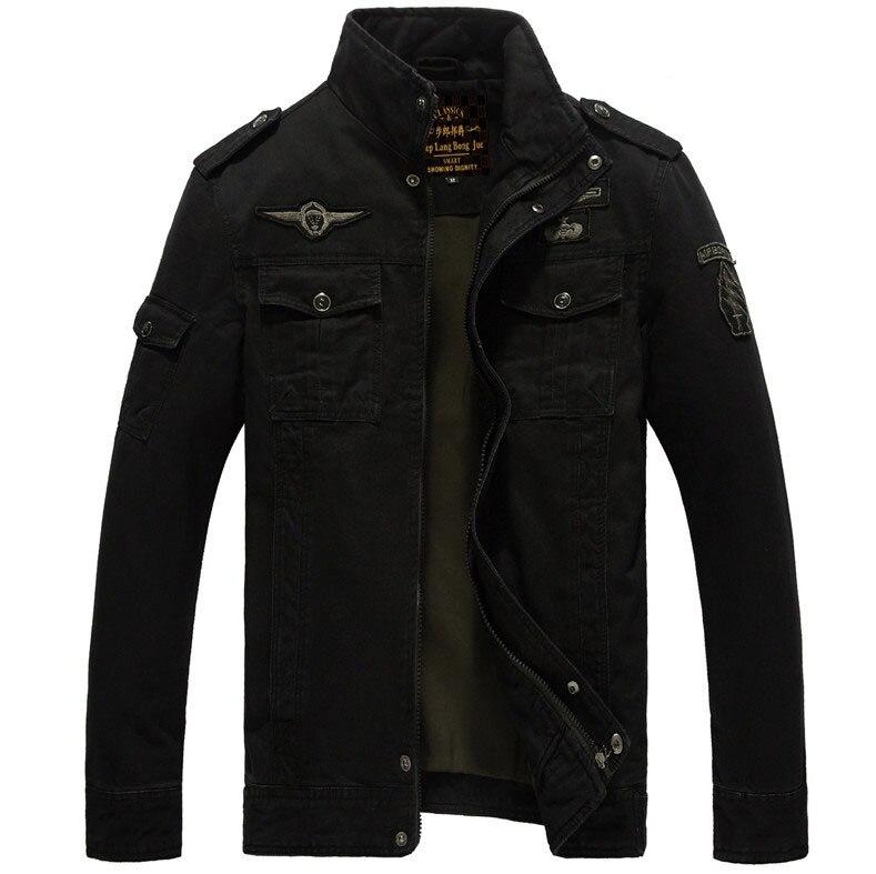 Мужская куртка-бомбер, весенне-осенние куртки, мужские пальто, военная верхняя одежда, куртка со стоячим воротником, мужская куртка, veste homme M-6XL - Цвет: black