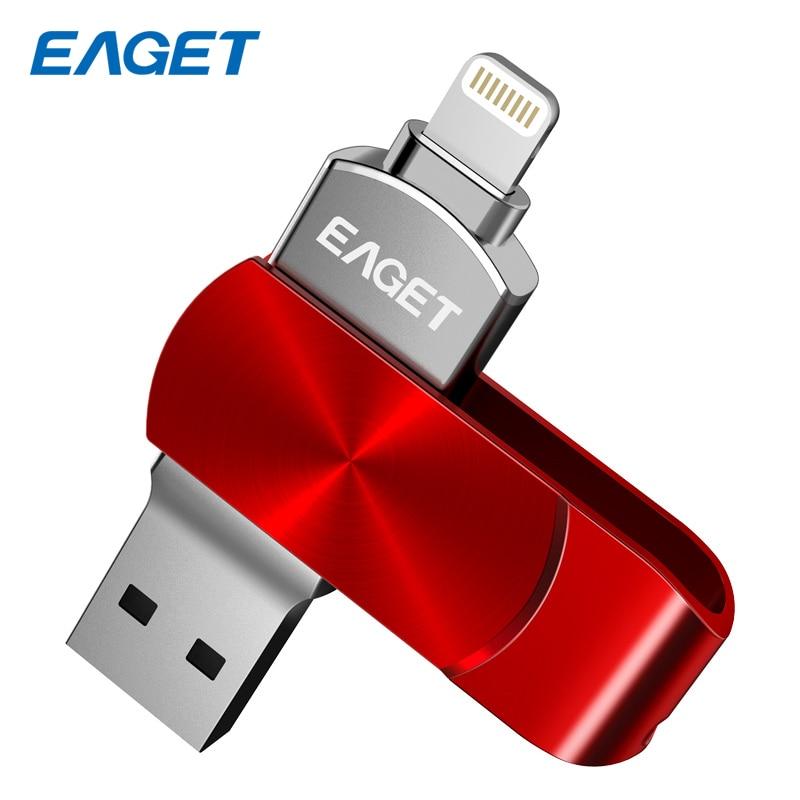Eaget I66 OTG USB Flash Drive 64 gb 128 gb USB 3.0 Pendrive 128 gb flash drive Encryption MFI Métal pen drive 64 gb Pour iPhone PC