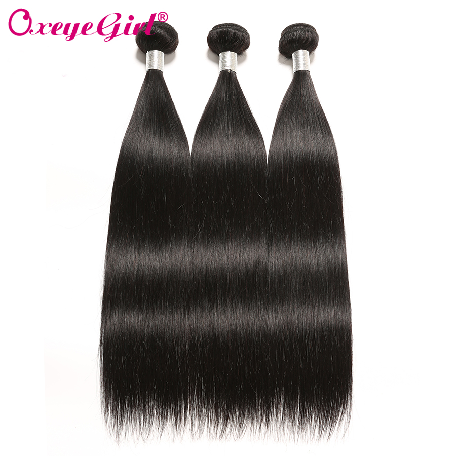 Oxeye Girl Straight Hair Bundles Brazilian Hair Weave Bundles 100% Mänskliga Hårförlängningar Non Remy 1/3/4 PC Natural Color 10-28