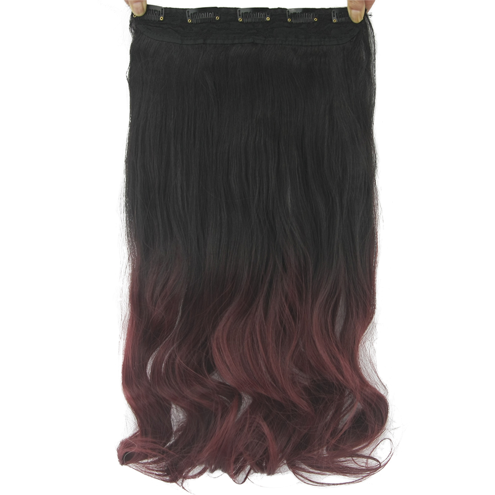 Synthetic Clip-in One Piece Soowee 60cm Long Curly Black To Wine Ombre Hair High Tempreture Fabric Synthetic Hair Piece Women Clip On Hair Extensions Strengthening Sinews And Bones Synthetic Extensions