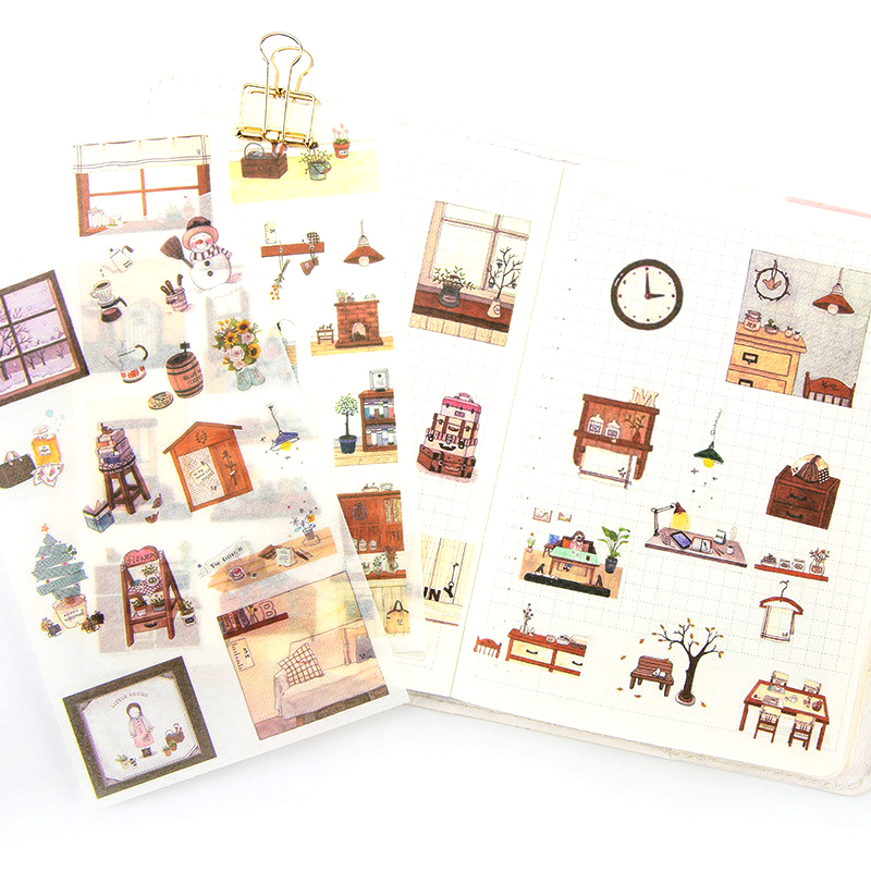 6 Sheets/pack Winter Snowman Decorative Washi Stickers Scrapbooking Stick Label Diy Diary Stationery Album Stickers