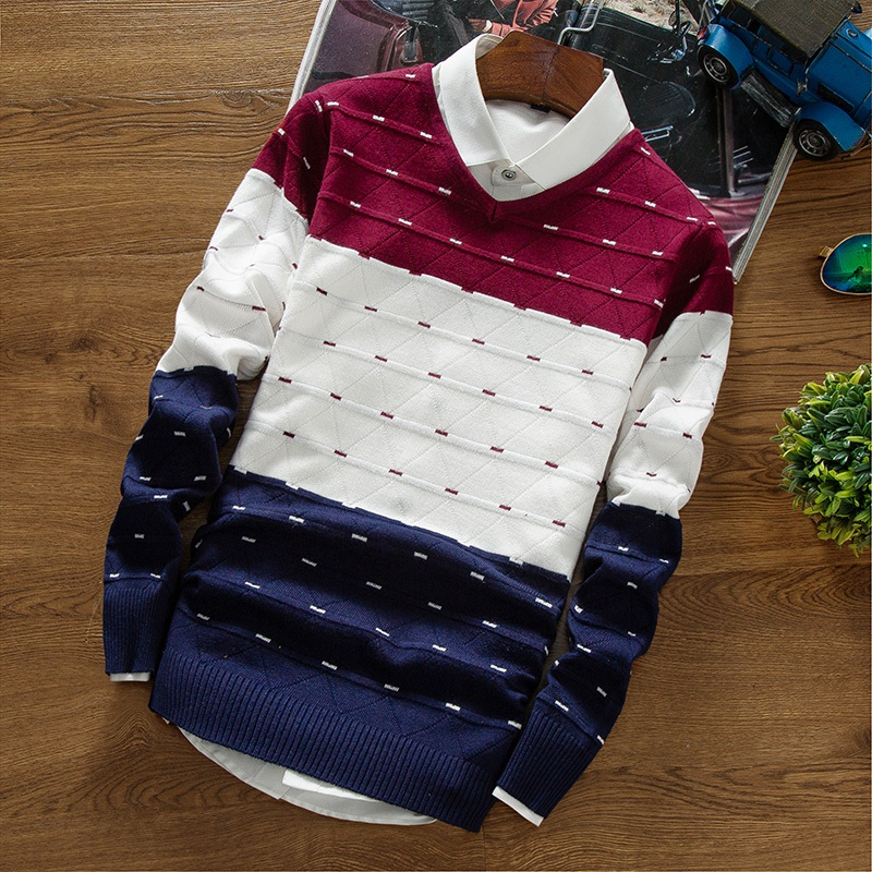 New Autumn Brand Clothing Men 'S Pullover Sweaters Knitting Fashion Designer Casual Striped Man Knitwear