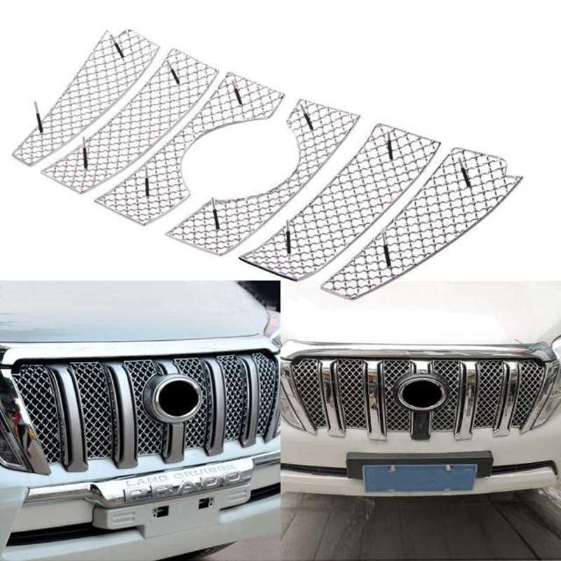 Super Quality Stainless Steel 6pcs/set Car Racing Grills For Toyota Land Cruiser Prado 2014-2016 Front Grill Grille Cover Trim racing grills version aluminum alloy car styling refit grille air intake grid radiator grill for kla k5 2012 14