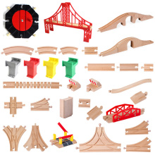 Деревянные железнодорожные дорожки, аксессуары из бука, железнодорожные части, совместимые с Thomas Biro, все бренды, игрушки для поездов, гоночные дорожки