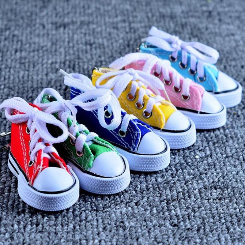 Mini Hi Top Canvas Sneaker Tennis Shoes keychains Sport Shoes Keyring Doll Shoe Key Ring Birthday