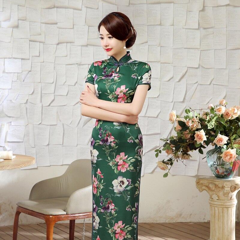 8a273f20894a Nouveau Vert Nouveauté Dames Soie Longue Cheongsam Chinois Style  Traditionnel femelle Élégante Mince Qipao Robe S M L XL XXL T051504