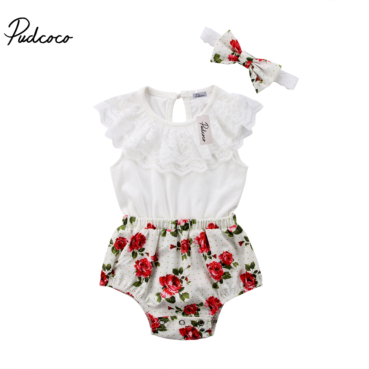 2018 Brand New Cute Newborn Princess Baby Girl Summer Lace Floral Romper Jumpsuit Headband 2PCS Outfits Sunsuit Clothes 0-24M