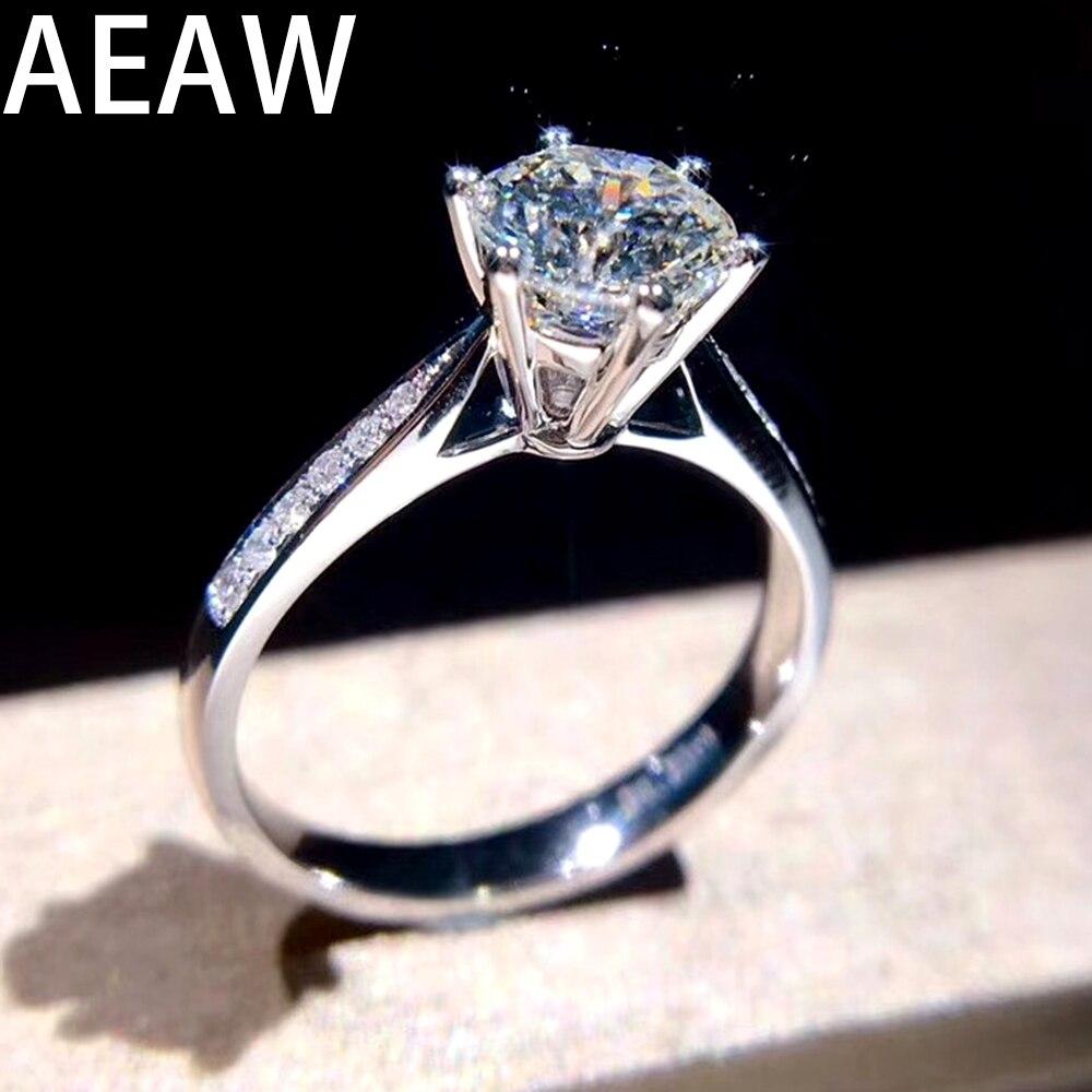 1ct DF Moissanites แหวน 14K สีขาวทองชุบเงิน Lab Grown Moissanites เพชรหมั้นแหวนผู้หญิงคลาสสิก 6 Prongs-ใน ห่วง จาก อัญมณีและเครื่องประดับ บน   1