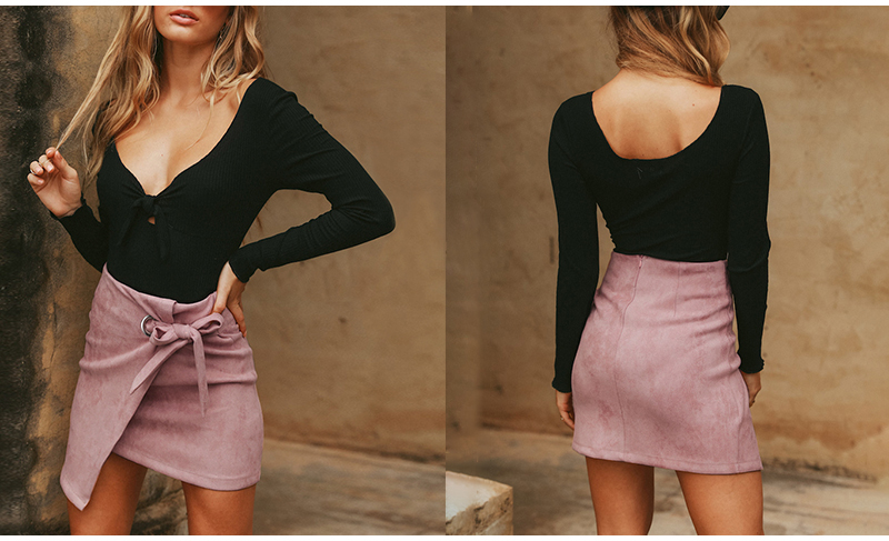Affogatoo Asymmetrical sash knotted suede skirt women High waist sexy split winter skirt 18 Autumn casual leather skirt female 2
