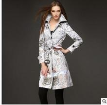 Elegant Womens Autumn Winderbreaker Long Section Print Slim Trench Coats Casaco Feminino Abrigos Mujer Trench With Belt J1647-5