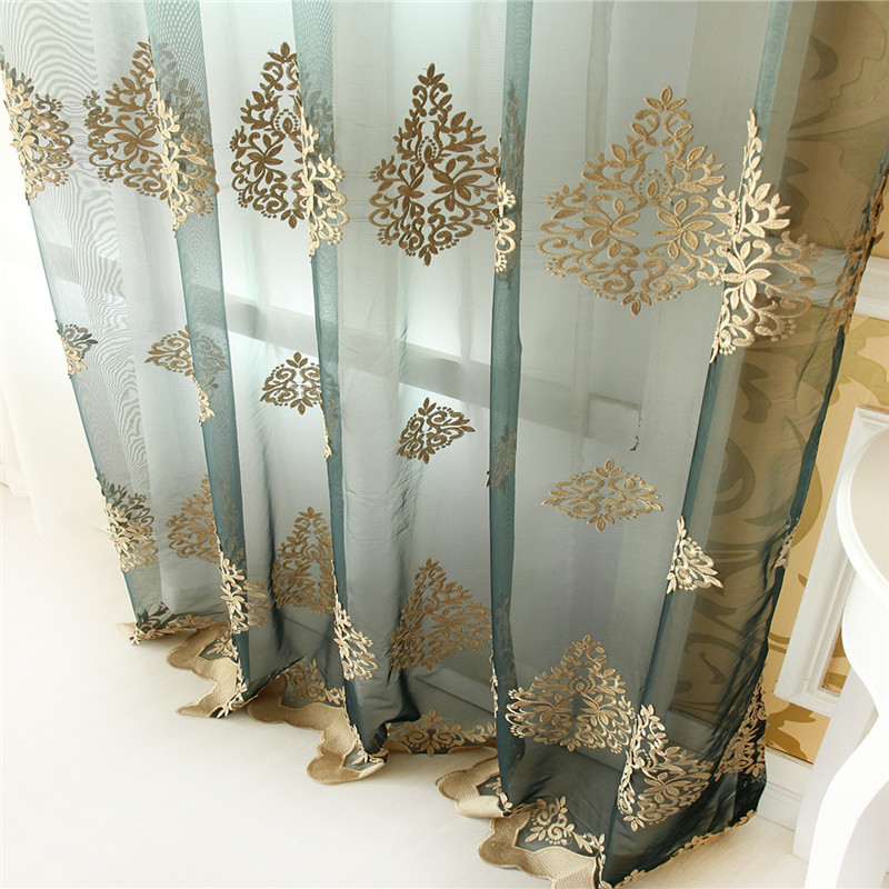 The new European embossed embroidered screens customized summer Rome curtain bedroom living room tulle curtain factory outlets