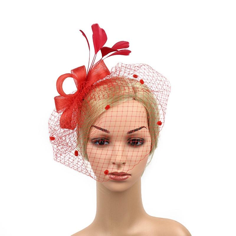 Wedding Vintage Style Hair Accessories: Vintage Flower Headband Bridal Hair Veil Fashion Feather