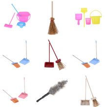 Mini Brooms Dustpans Doll House Cleaning Tool Kitchen Furniture Toy Accessories 1/12 Scale Dollhouse Miniature(China)