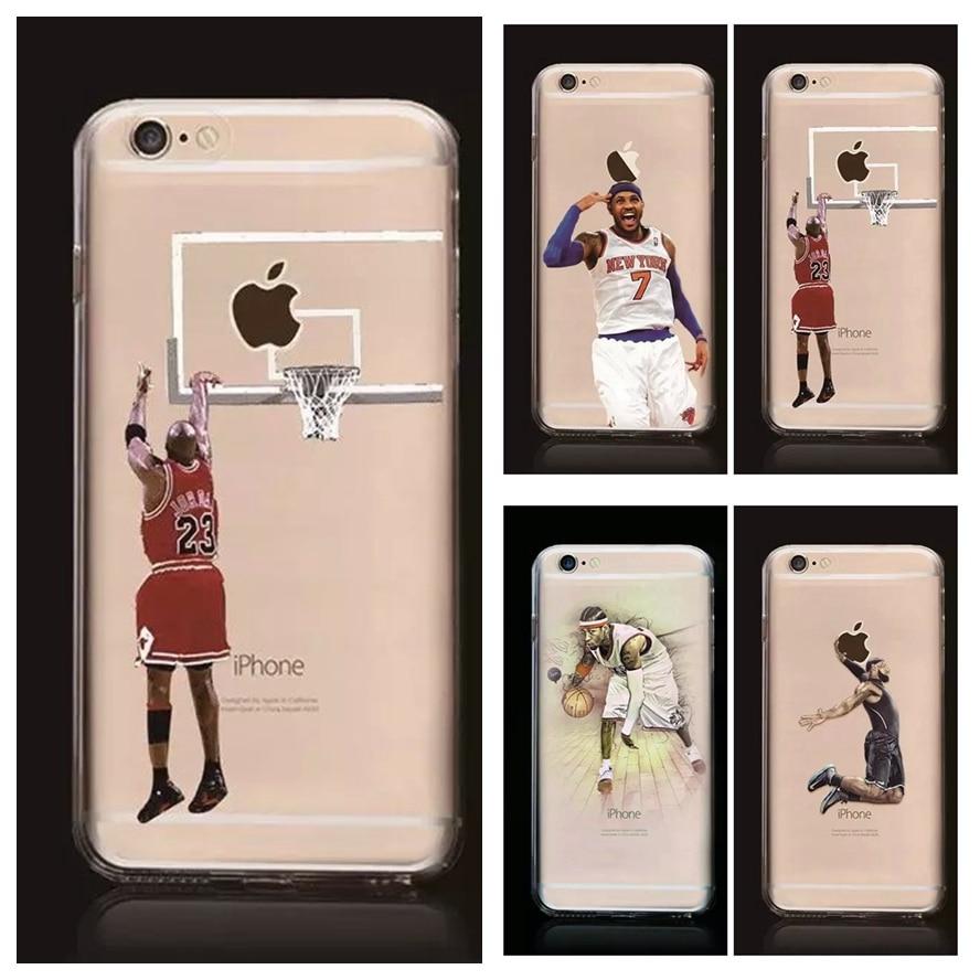 NBA Cas pour Iphone 7 7 plus Michael Jordan 23 LeBron James Harden Curry Kobe Bryan