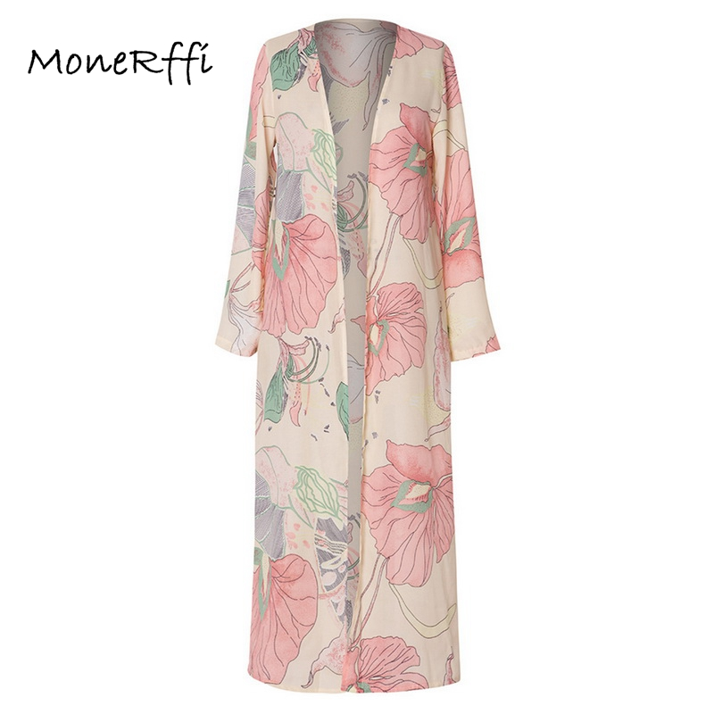 Temperate Monerffi Women Chiffon Blouse Kimono Cardigan Floral Print Long Sleeve Beach Cover Up Long Tops Boho Shirts Mujer 2019 Verano Women's Clothing
