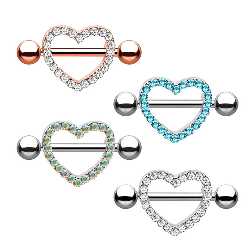 2pcs Surgical Steel Heart Love Navel Belly Button Rings Barbell Nipple Piercing Shields Bars Nipple Body Jewelry For Women Sexy