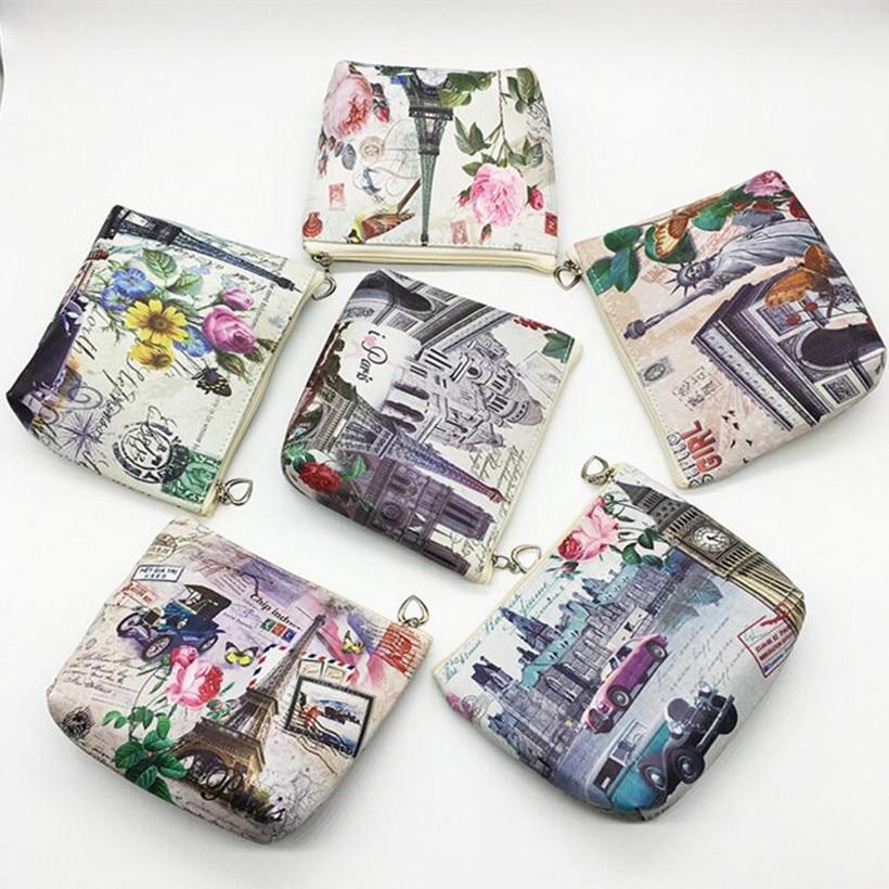 M093 2017 Creative Printing Women Purses Tower Series PU Leather Coin Bag