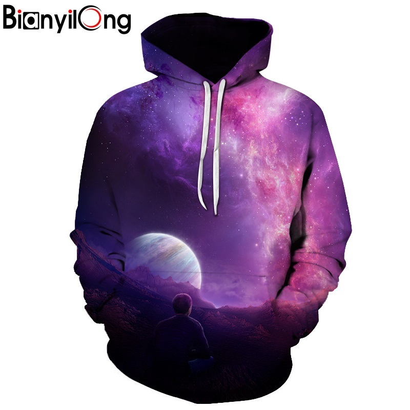 Miss.GO Autumn and winter new arrival fashion clothing Hoodies Sky moon planet 3D print harajuku hip hop Loose Outerwear