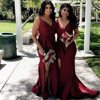 High Quality Burgundy Satin Mermaid Bridesmaid Dresses High Split V Neck Long Elegant Wedding Party Gowns 2019 Cheap Women Dress