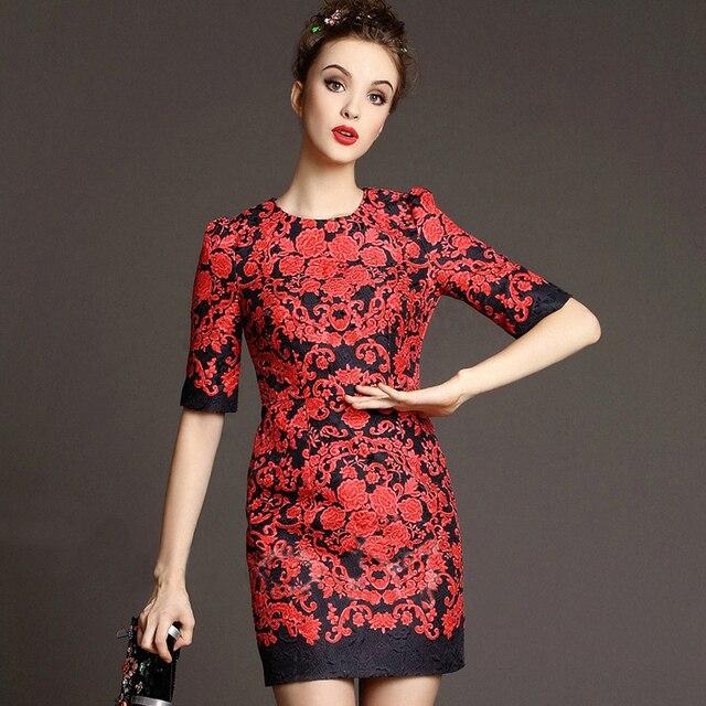 3a250d45b شحن مجاني 2015 أوائل الربيع أزياء المرأة اليومية الجديدة أنيقة فساتين قصيرة  الأكمام المطبوعة الزهور الحمراء