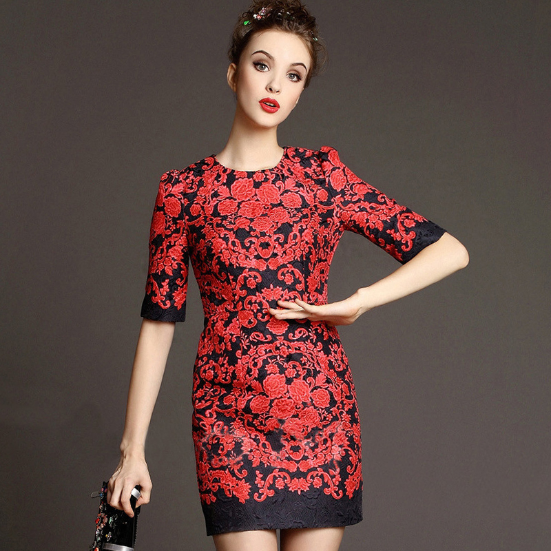 Free Shipping 2015 Early Spring Fashion Daily New Women's Elegant Short Sleeve Printed Red Flowers Black Jaquard Dresses