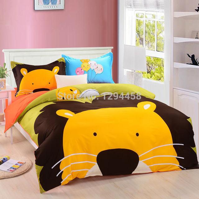 New Cartoon Kids Bedding Sets,4pcs Cotton Animal Duvet Cover,cute Princess Children  Bed