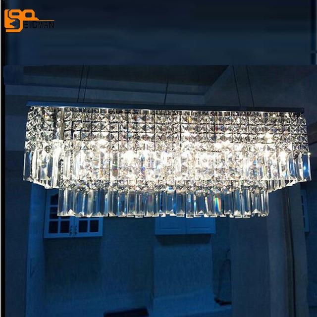 Modern Rectangular Chandeliers Crystal Lamp For Dinning Room Hanging Lighting Fixtures