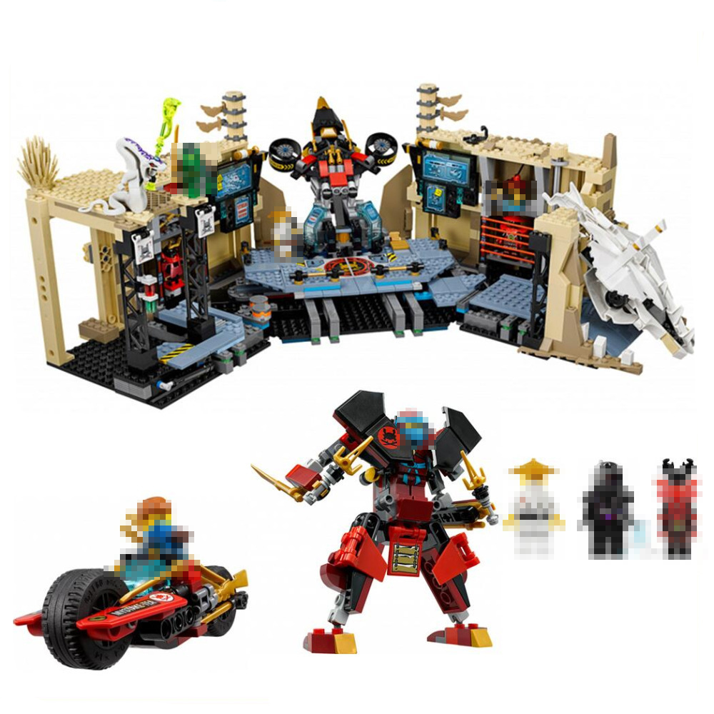 Lepin 06039 1351Pcs Ninja Figure Samurai X Cave Chaos toys building blocks Toys for children Compatible with Legoed Ninja 70596 lepin 663pcs ninja killow vs samurai x mech oni chopper robots 06077 building blocks assemble toys bricks compatible with 70642