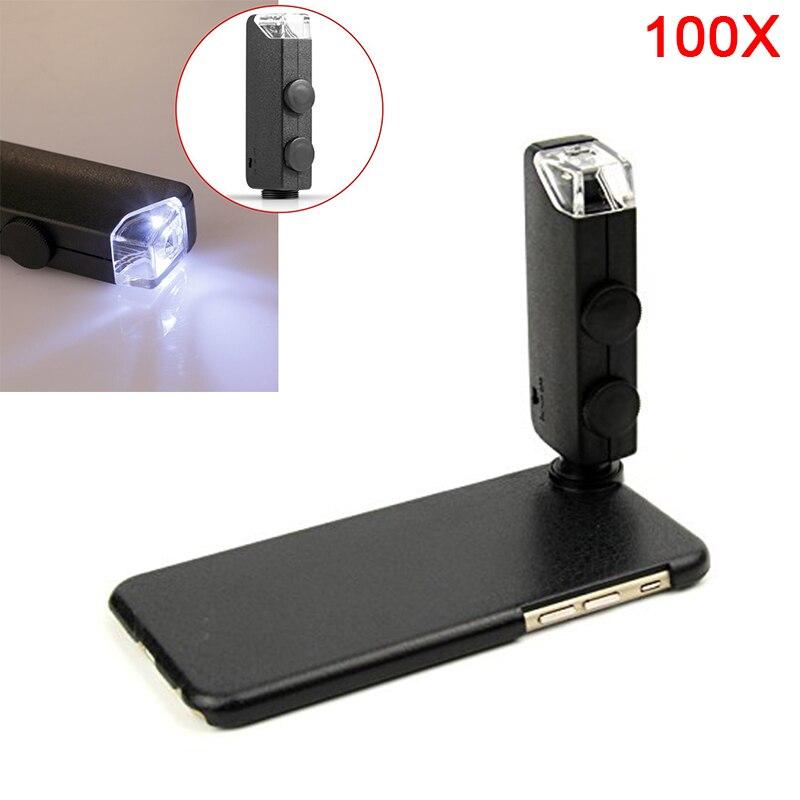 bilder für 2017 60X-100X Digitalen Zoom-objektiv Mit Led Handy Linsen Lupe Mikroskop fällen Für iPhone 7 6 6 s Plus 4 4 s 5 5 s Samsung