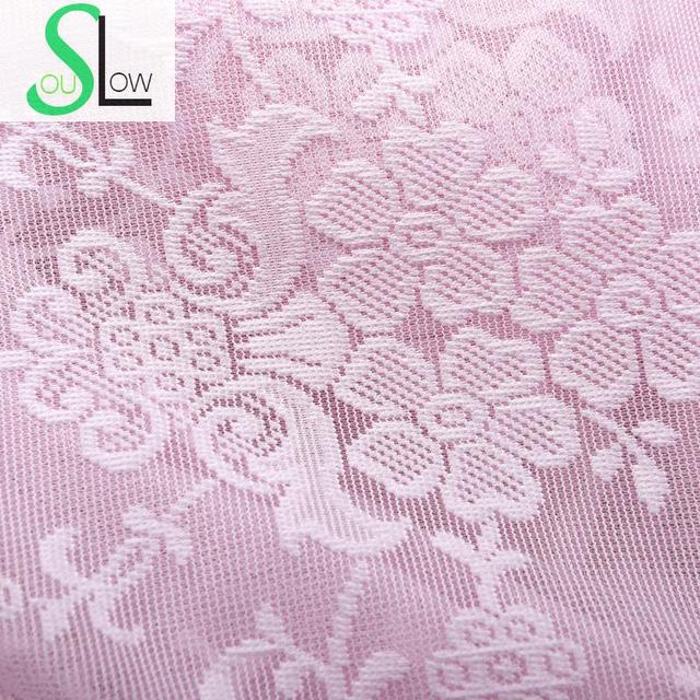 Slow Soul White Beige Pink High Grade Jacquard Hollow Lace Curtain Pastoral Floral Curtains Tulle For