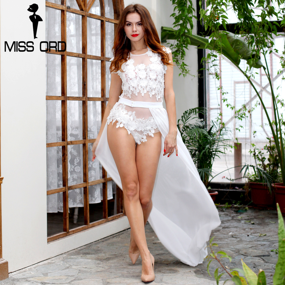 MISS ORD Sexy lace stitching thread empty waist playsuit