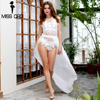 Free Shipping 2015 Sexy Lace Stitching Thread Empty Waist Shawl Playsuits FT2342