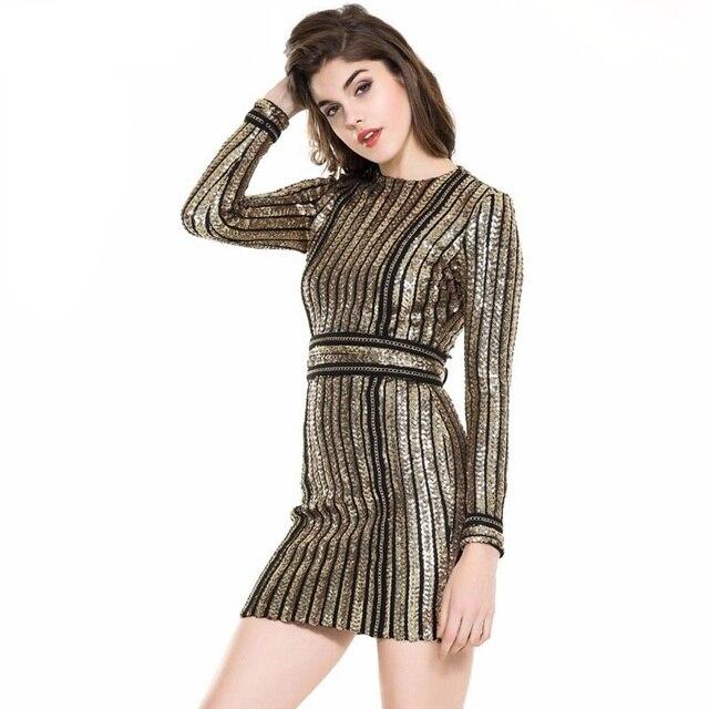 2017 promi hot frauen kleid sommer pailletten bling schwarz gold ...
