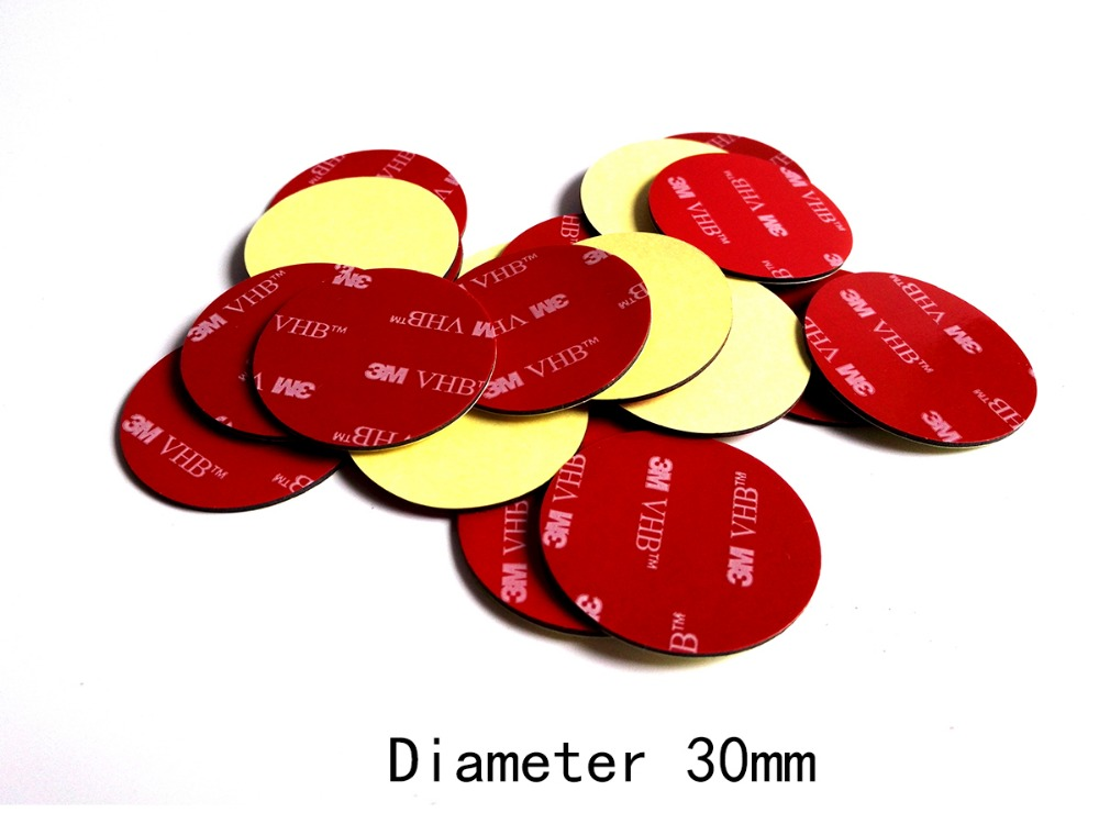 Dimater=30mm Round Circle 3M 5952 Heavy Duty Double Sided Adhesive Acrylic Foam Sticker Black Good For Car Cell Phone Holder charming diy crystal sticker for car cell phone psp camera color assorted 874 piece sheet