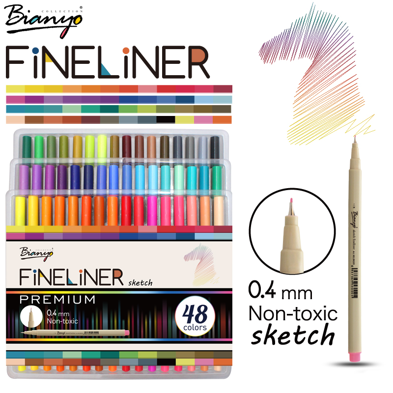Bianyo 48 Colors Fineliner Sketch Marker Needle Drawing Pen Set For School Student Design Stationery Art Supplies