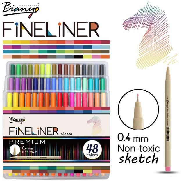 Bianyo 48 Kleuren Fineliner Sketch Marker Naald Tekening Pen Set Voor School Student Ontwerp Briefpapier Art Marker Levert