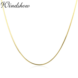 35cm-60cm Thin Slim Real 925 Sterling Silver Gold Color Octagon Snake Chains Long Necklace Women Kids Girls Jewelry Kolye Colier