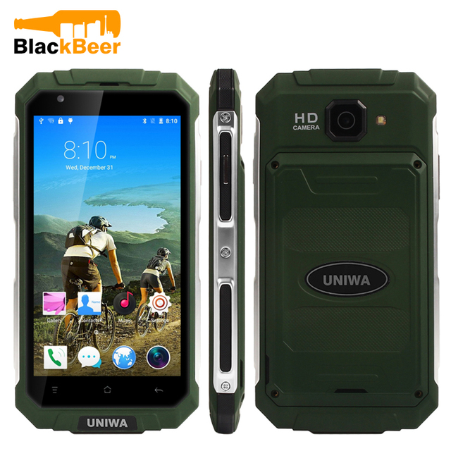 "UNIWA V9 + סגנון מחוספס חיצוני נייד טלפון 3G 5.0 ""MTK6580M Quad Core אנדרואיד 5.1 טלפון חכם כפולה ה-SIM כרטיס נעילה נייד"