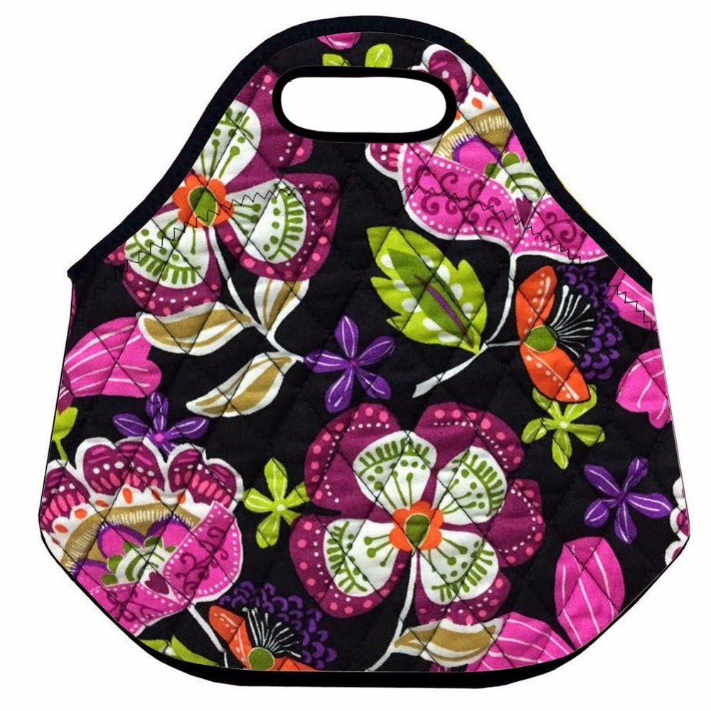 Retro Flower Lunch Bag for Women,School Insulated Lunch Bag for Kid,Neoprene Thermal Lunch Bag,Food Picnic Bag,Lunch Tote
