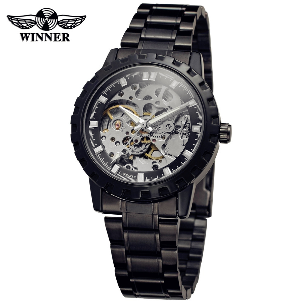 Fashion WINNER Men Luxury Brand Black Skeleton Stainless Steel Watch Automatic Mechanical Wristwatches Gift Box Relogio Releges набор hauser triangle шариковая ручка механический карандаш черный 1287297