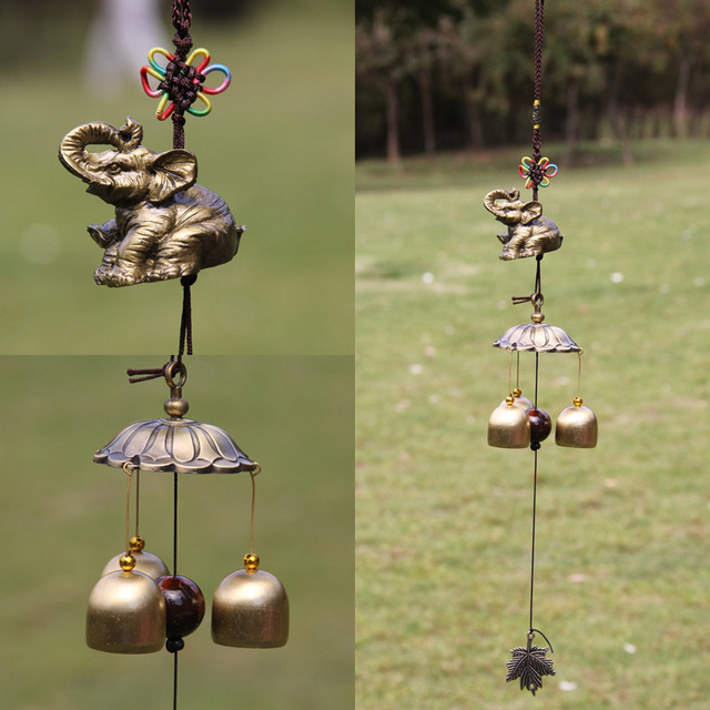 Free Shipping Feng Shui Metal Bells Antique Copper Garden Decoration Balcony